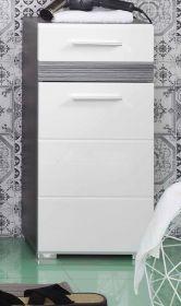 Badmöbel Kommode SetOne in Hochglanz weiß und Sardegna grau Rauchsilber Badschrank 37 x 80 cm