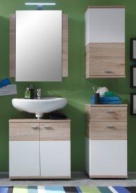 Badmöbel Campus komplett Set 4-teilig in Eiche San Remo hell und weiß Badkombination 111 x 189 cm mit Spiegelschrank