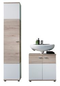 Badmöbel Set Campus in Eiche San Remo hell und weiß Badkombination mit Waschbeckenunterschrank und Hochschrank