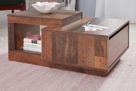 Couchtisch Universal in Used Wood Shabby Wohnzimmertisch mit Schubkasten und Ablage 60 x 91 cm