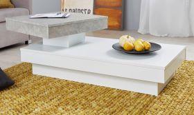 Couchtisch in weiß und Stone Design grau Wohnzimmertisch drehbar 110-130 x 60-85 cm
