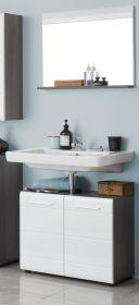 Badmöbel Set Line 2-teilig in Hochglanz weiß und Sardegna grau Rauchsilber mit Waschbeckenunterschrank und Spiegel