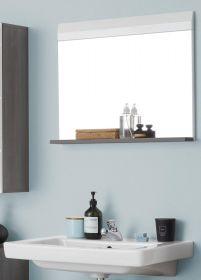 Badezimmer Spiegel Line in Hochglanz weiß und Sardegna grau Rauchsilber Badspiegel 60 x 55 cm