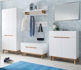Garderobenkombination Cervo in matt weiß echt Lack mit Asteiche massiv Garderobe Set 6-tlg. 297 x 196 cm