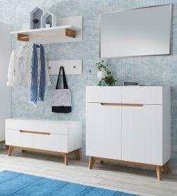 Garderobenkombination Cervo in matt weiß echt Lack mit Asteiche massiv Garderobe Set 5-tlg. 197 x 196 cm