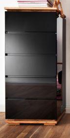 Kommode Chiaro schwarz Hochglanz Lack und Eiche / Asteiche massiv geölt Schubkastenkommode 51 x 115 cm