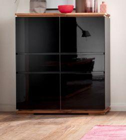 Highboard Chiaro schwarz Hochglanz Lack und Eiche / Asteiche massiv geölt Sideboard 102 x 115 cm