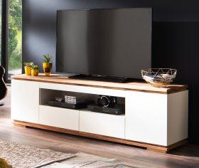 TV-Lowboard Chiaro matt weiß Lack und Eiche / Asteiche massiv geölt TV-Unterteil 202 x 54 cm