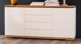 Sideboard Chiaro matt weiß Lack und Eiche / Asteiche massiv geölt Kommode 172 x 81 cm