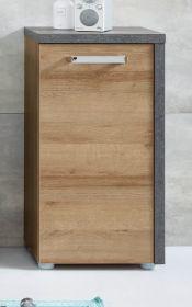Badezimmer Kommode Bay in Eiche Riviera und Beton grau Badschrank 39 x 80 cm Unterschrank