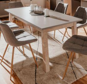 Esstisch Epik in Eiche Endgrain und grau Küchentisch ausziehbar inkl. 2 x Einlegeplatte 160 / 240 x 90 cm