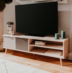TV-Lowboard Epik in Eiche Endgrain und grau TV-Unterteil 160 x 51 cm