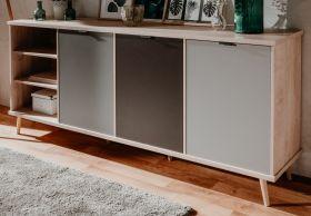 Sideboard Epik in Eiche Endgrain und grau Kommode 210 x 88 cm