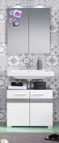 Badkombination SetOne in Hochglanz weiß und Sardegna grau Rauchsilber Badmöbel Set 2-teilig mit Spiegelschrank
