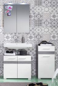 Badkombination SetOne in Hochglanz weiß und Sardegna grau Rauchsilber Badmöbel Set 3-teilig mit Spiegelschrank