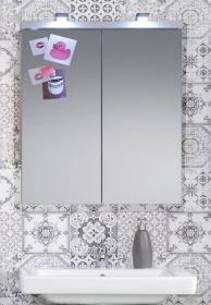 Badezimmer Spiegelschrank SetOne in Hochglanz weiß Badschrank 2-türig 65 x 80 cm