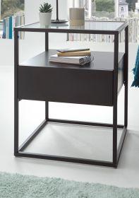 Couchtisch Evora in schwarz matt mit Metallgestell Wohnzimmertisch mit Glastischplatte und Schubkasten 43 x 43 cm