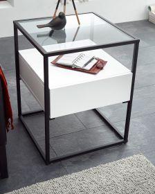 Couchtisch Evora in weiß matt mit Metallgestell Wohnzimmertisch mit Glastischplatte und Schubkasten 43 x 43 cm