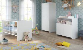 Babyzimmer Niko komplett Set 3-teilig in weiß Babymöbel mit Wickelkommode, Kleiderschrank und Babybett