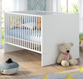 Babyzimmer Babybett Niko in weiß Babymöbel Gitterbett mit Schlupfsprossen und Lattenrost Liegefläche 70 x 140 cm