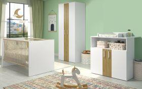 Babyzimmer Berry komplett Set 3-teilig in weiß und Eiche sägerau mit Wickelkommode, Kleiderschrank und Babybett