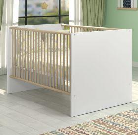 Babyzimmer Babybett Berry in weiß und Eiche Babymöbel Gitterbett mit Schlupfsprossen und Lattenrost Liegefläche 70 x 140 cm