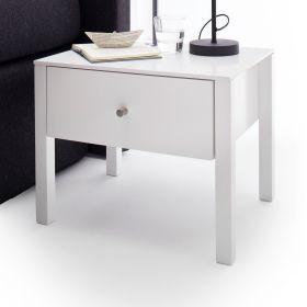 Nachttisch Nola in weiß matt lackiert Nachtkonsole mit Schubkasten 50 x 40 cm