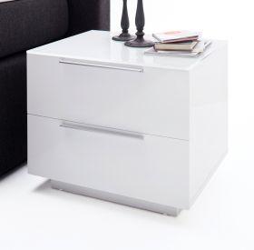 Nachttisch Nola in Hochglanz weiß lackiert Nachtkonsole mit 2 x Schubkasten 50 x 40 cm