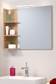 Badezimmer Spiegel Beach Geo in Artisan Eiche Badspiegel mit Ablage 79 x 67 cm
