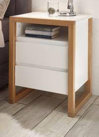 Nachttisch Facil weiß matt lackiert und Eiche massiv Nachtkommode in Komforthöhe mit 2 x Schubkasten