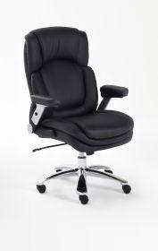 Bürostuhl Real Comfort in Kunstleder schwarz mit Wippmechanik Chefsessel bis 180 kg