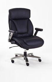 Bürostuhl Real Comfort in Kunstleder schwarz mit Wippmechanik Schreibtischstuhl bis 180 kg