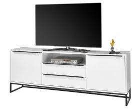 TV-Lowboard Lille weiß matt lackiert Fernsehtisch mit Metallgestell schwarz 184 x 69 cm TV in Komforthöhe