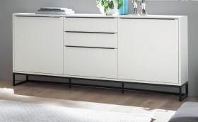 Sideboard Lille in weiß matt lackiert Kommode mit Metallgestell schwarz 184 x 69 cm