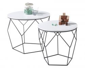 Couchtisch Haiti 2er Set in weiß matt lackiert Beistelltisch mit Metallgestell schwarz 2 x Tisch Wohnzimmer