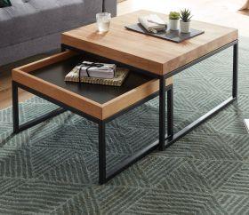 Couchtisch Lubao 2er Set in Asteiche / Eiche massiv geölt Beistelltisch mit Metallgestell schwarz 2 x Tisch Wohnzimmer