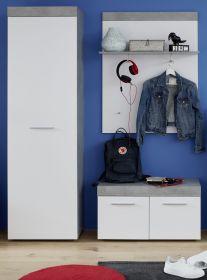 Garderobe Set 3-teilig Street in weiß und Beton Design grau Flur Garderobenkombination 149 x 196 cm