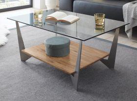 Couchtisch Leon in Glas grau mit Ablage Eiche natur geölt und Edelstahl Beistelltisch 90 x 60 cm