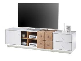 TV-Lowboard Jamaika in weiß matt lackiert und Eiche Hirnholz TV-Unterteil 180 x 46 cm