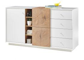 Sideboard Jamaika in weiß matt lackiert und Eiche Hirnholz Kommode 152 x 83 cm