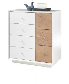 Kommode Jamaika in weiß matt lackiert und Eiche Hirnholz Sideboard 76 x 83 cm