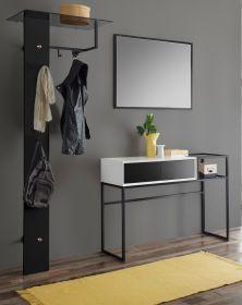 Garderobe Set 3-teilig Kasan in weiß und schwarz matt lackiert Garderobenkombination 206 x 190 cm