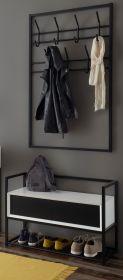 Garderobe Set 2-teilig Kasan in weiß und schwarz matt lackiert Garderobenkombination mit Paneel und Bank 84 cm