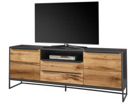 TV-Lowboard Asmara Eiche furniert und anthrazit lackiert TV-Unterteil in Komforthöhe 184 x 69 cm