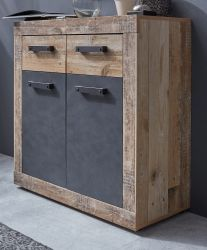 Kommode Tailor in Matera grau und Shabby Used Wood hell Sideboard 83 x 86 cm Pale Wood