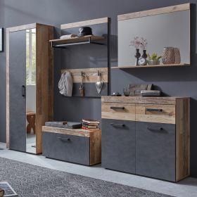Garderobenset Tailor in Matera grau und Shabby Used Wood hell Garderobe Set 5-teilig 265 x 192 cm Pale Wood