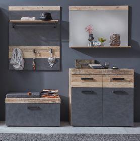 Garderobenset Tailor in Matera grau und Shabby Used Wood hell Garderobe Set 4-teilig 185 x 192 cm Pale Wood