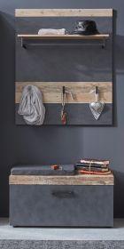 Garderobenset Tailor in Matera grau und Shabby Used Wood hell Set 2-tlg. mit Paneel und Sitzbank Pale Wood