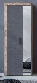 Garderobenschrank Tailor in Matera grau und Shabby Used Wood hell Garderobe oder großer Schuhschrank Pale Wood