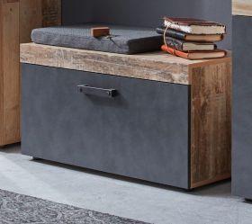 Garderobe Sitzbank Tailor in Matera grau und Shabby Used Wood hell Garderobenbank und Schuhschrank Pale Wood